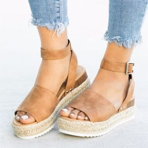 Shoes - HELLO SPRING Comfy Wedges - CAMEL